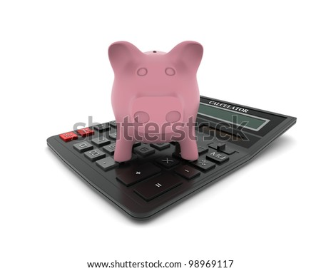 Piggy bank on the calculator. 3d rendering - stock photo