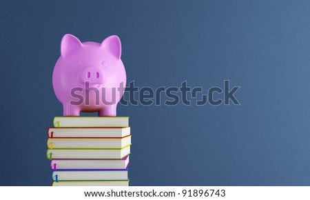 Piggy bank over colorful books against blue wall - rendering - stock photo