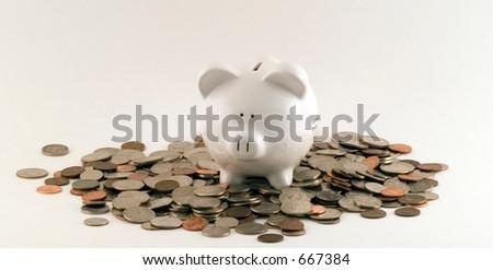 piggy bank overflow - stock photo
