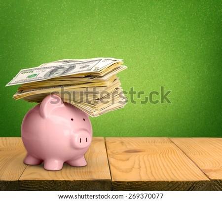 Piggy Bank. Piggy Bank with Money - stock photo