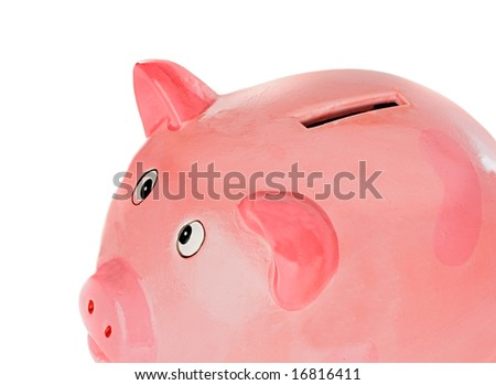 piggy bank pink a over white background - stock photo