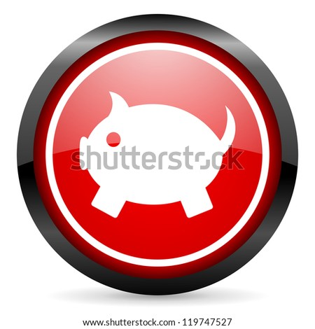 piggy bank round red glossy icon on white background - stock photo