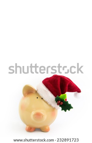 Piggy bank Santa isolated on white background - stock photo