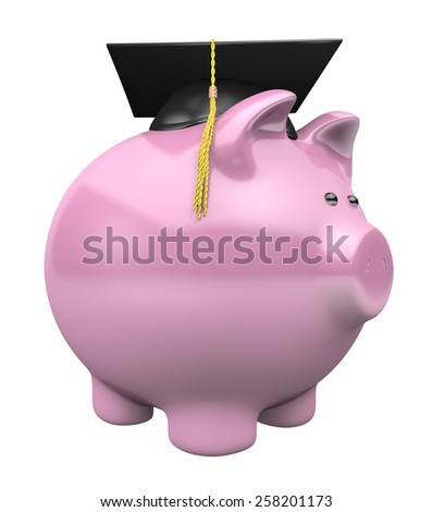 Piggy bank savings fund for college, wearing a graduation cap - stock photo
