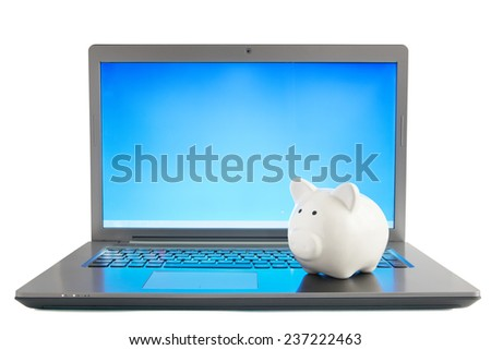 Piggy bank sitting on open laptop - stock photo