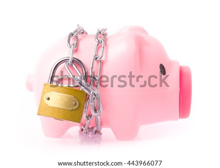 Piggy bank style money box chained together isolated on white background, concep financial stability - stock photo