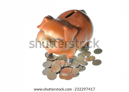 Piggy bank style money box isolated on a white background  - stock photo