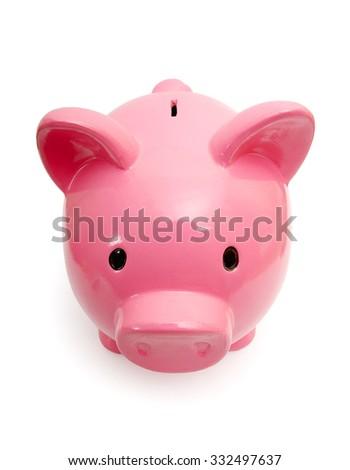 Piggy bank style money box isolated on a white studio background - stock photo