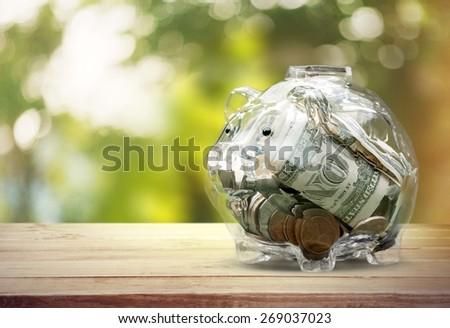 Piggy Bank. Translucent piggy bank with money - stock photo