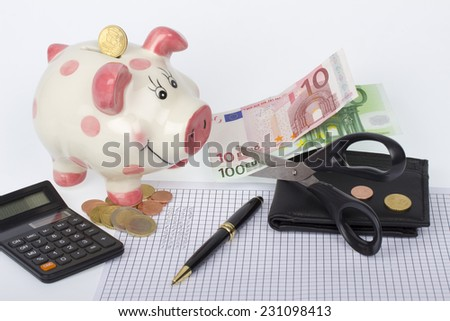 Piggy bank, wallet with euro coins and banknotes cut by scissors, black calculator and pen on paper with financial calculations - stock photo