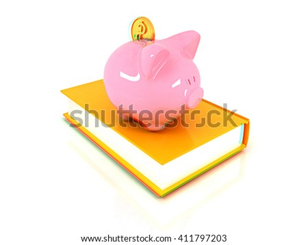 Piggy Bank with a gold dollar coin on book on a white background. 3D illustration. Anaglyph. View with red/cyan glasses to see in 3D. - stock photo