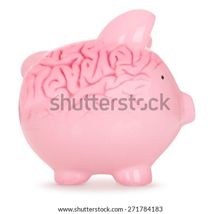Piggy Bank with brain on White Background - stock photo