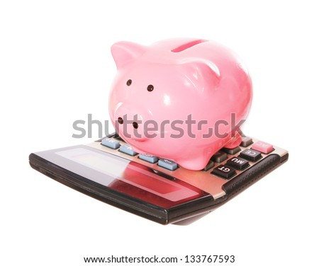 Piggy bank with calculator . style money box. isolated on white studio background - stock photo