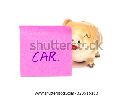 piggy bank with car paper note - stock photo