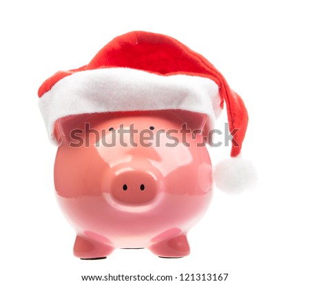 Piggy bank with christmas hat - stock photo