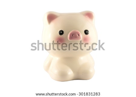 piggy bank with clipping path on white background - stock photo