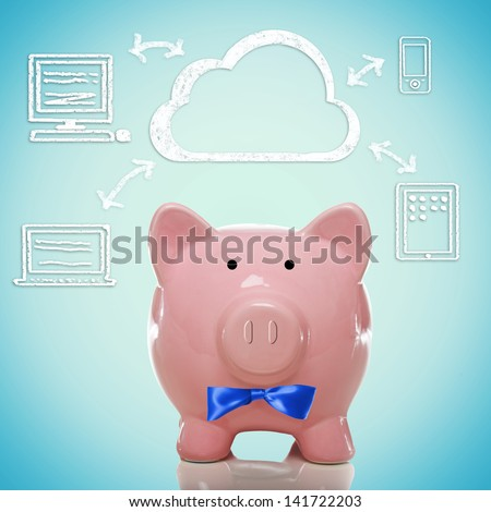 Piggy bank with cloud computing concept - stock photo