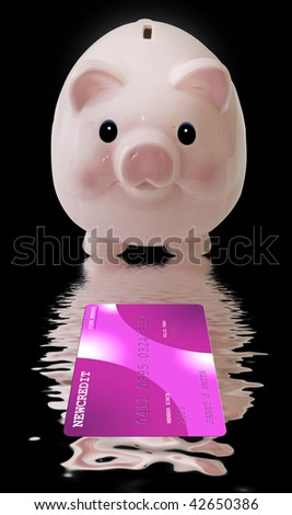 Piggy Bank with Credit Card - stock photo