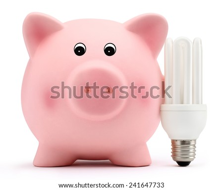 piggy bank with energy saving lamp on white background - stock photo