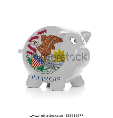 Piggy bank with flag coating over it isolated on white - State of Illinois - stock photo