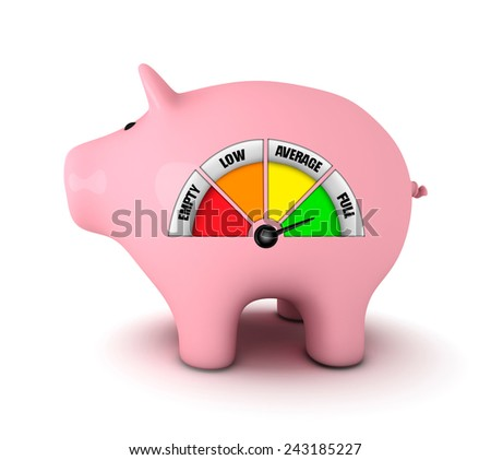 Piggy bank with full fuel gauge, white background - stock photo