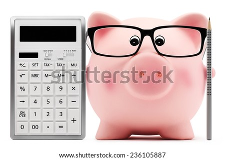 piggy bank with glasses calculator and pen - stock photo