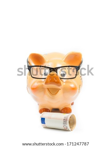 piggy bank with glasses near fifty euro banknote on white background with space for text, concept for business and save money - stock photo