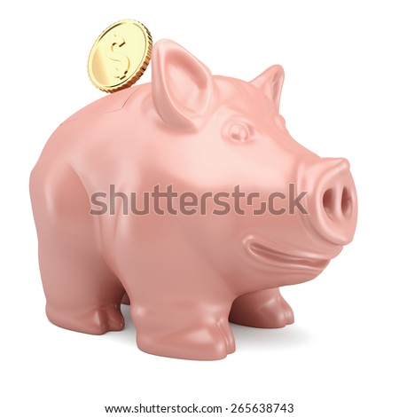 Piggy bank with gold coin isolated on white background. 3d render - stock photo
