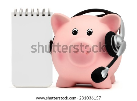piggy bank with headset isolated on white background - stock photo