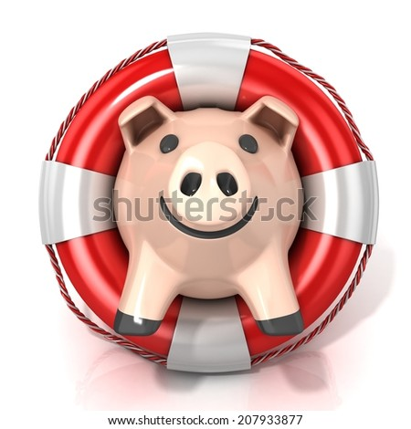 Piggy bank with lifebuoy. Isolated on white. Front view - stock photo