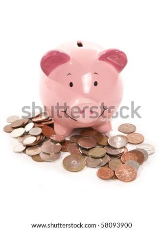 piggy bank with money cutout - stock photo