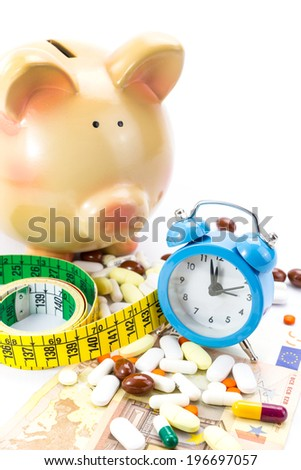 Piggy bank with pile of pills, banknotes clock and measure tape  - stock photo