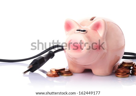 piggy bank with power plug and money on white background - stock photo