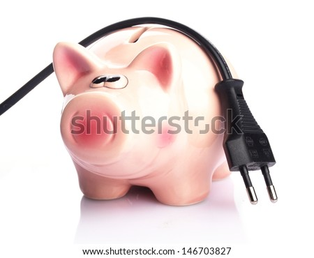 piggy bank with power plug on white background - stock photo