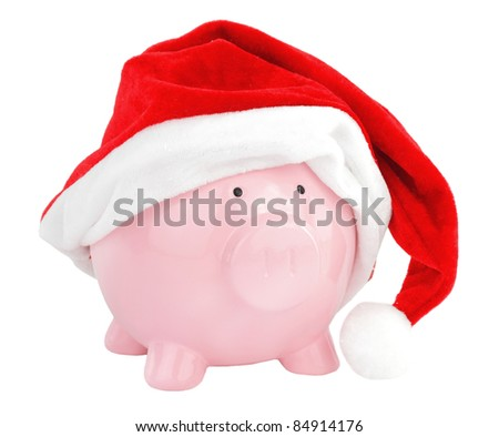 Piggy bank with Santa Claus hat - stock photo