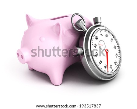 Piggy Bank with Stopwatch on a white background. 3D Render Illustration - stock photo