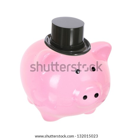 Piggy bank with top hat (money box) isolated on a white studio background - stock photo