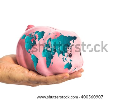 Piggy bank with worldmap in male hand isolated on white with clipping path ( map derived from NASA world map) - stock photo