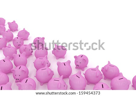 Piggy banks in corner with copyspace - stock photo
