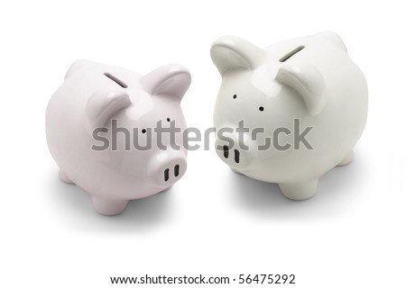Piggy banks on white background - stock photo