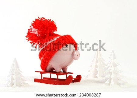 Piggy box with red hat with pompom standing on red sled on snow and around are snowbound trees  - stock photo
