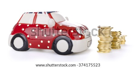 Piggy car money  with currency money isolated on white background. - stock photo