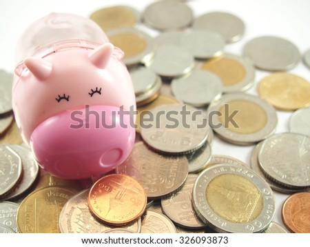 Piggy, save and collected coins, thai baht money 