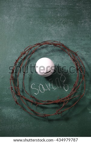 piggybank surround  by the barbwire ,protect your saving - stock photo