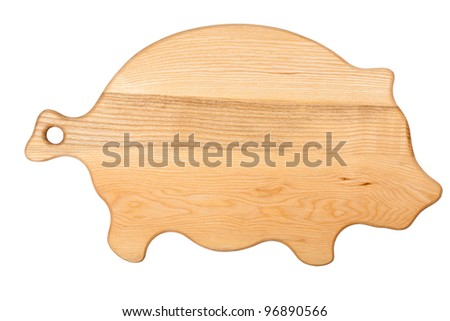 Pigs shape chopping board isolated on white - stock photo