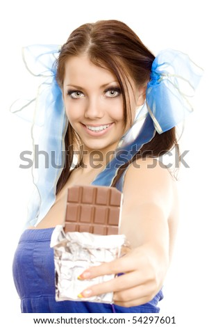 pigtails girl suggest chocolate isolated - stock photo