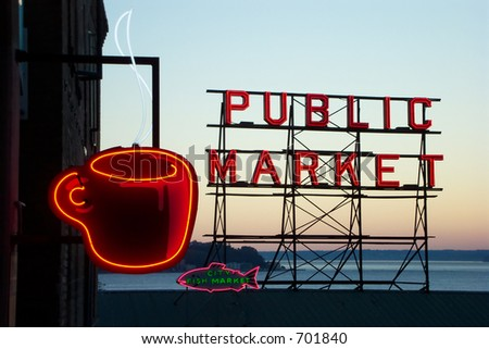Pike street market at sunset - stock photo