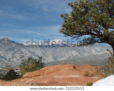 Pikes Peak in winter from the Garden of the Gods, Colorado Springs, CO - stock photo
