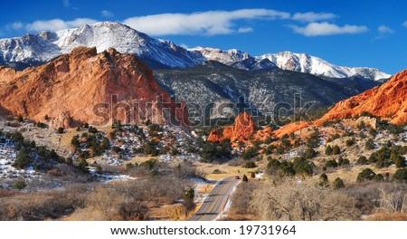 Pikes Peak Soaring over the Garden of the Gods near Colorado Springs, Colorado in Winter - stock photo