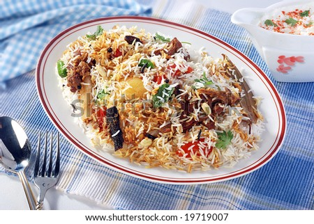 Pilaf Rice in Oval Dish - stock photo